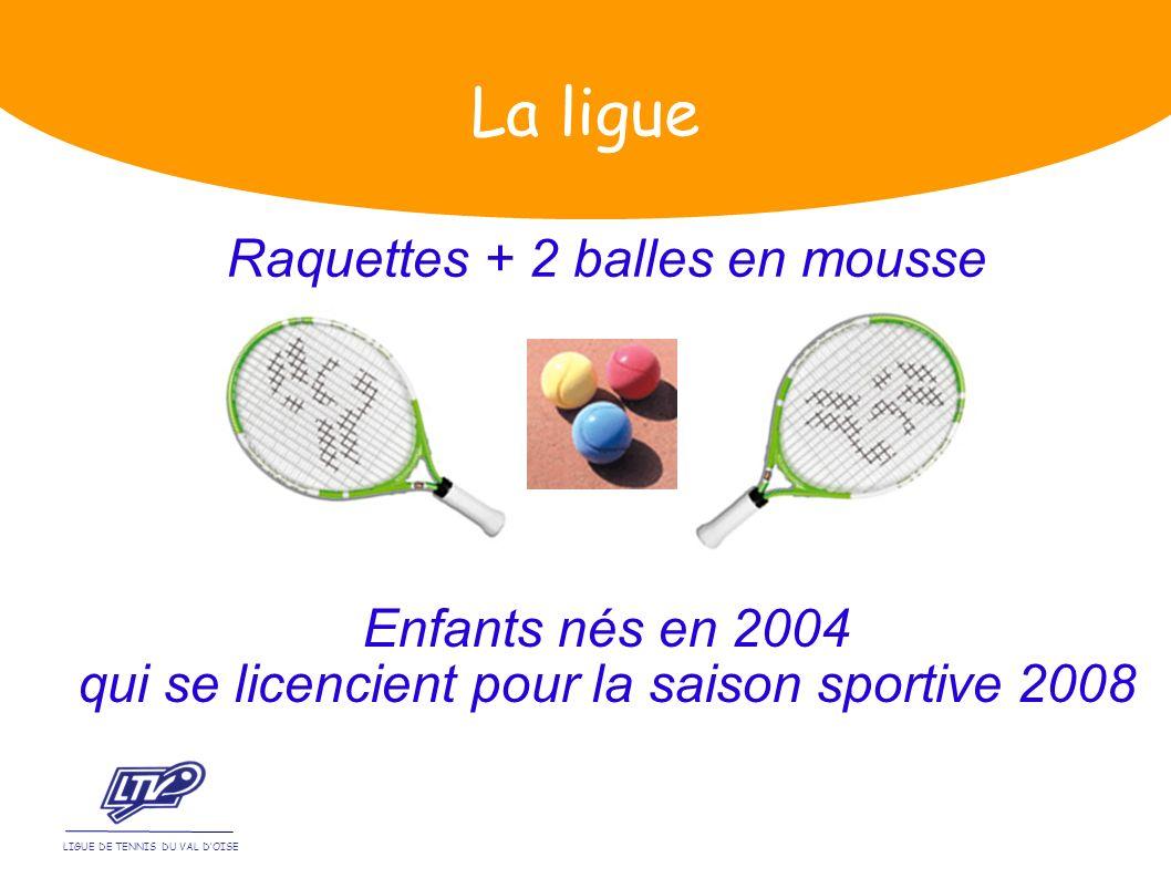 Raquettes + 2 balles en mousse LIGUE DE TENNIS DU VAL DOISE La ligue Enfants nés en 2004 qui se licencient pour la saison sportive 2008