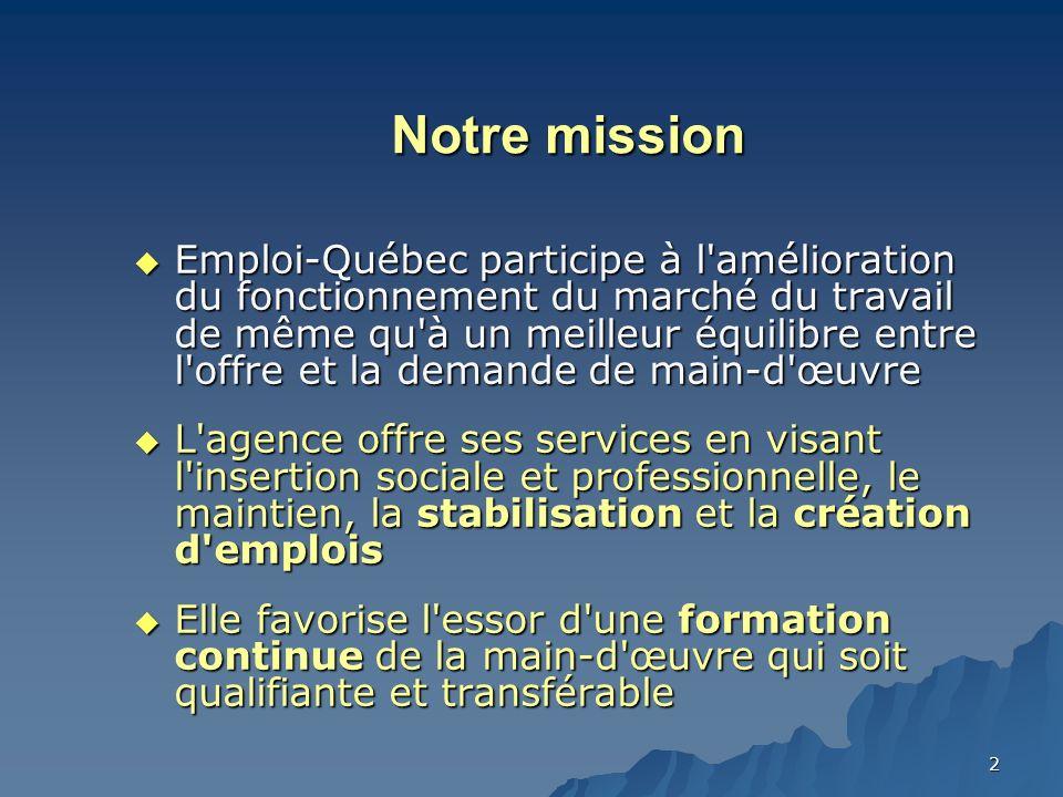2 Notre mission Emploi-Québec participe à l amélioration du fonctionnement du marché du travail de même qu à un meilleur équilibre entre l offre et la demande de main-d œuvre Emploi-Québec participe à l amélioration du fonctionnement du marché du travail de même qu à un meilleur équilibre entre l offre et la demande de main-d œuvre L agence offre ses services en visant l insertion sociale et professionnelle, le maintien, la stabilisation et la création d emplois L agence offre ses services en visant l insertion sociale et professionnelle, le maintien, la stabilisation et la création d emplois Elle favorise l essor d une formation continue de la main-d œuvre qui soit qualifiante et transférable Elle favorise l essor d une formation continue de la main-d œuvre qui soit qualifiante et transférable