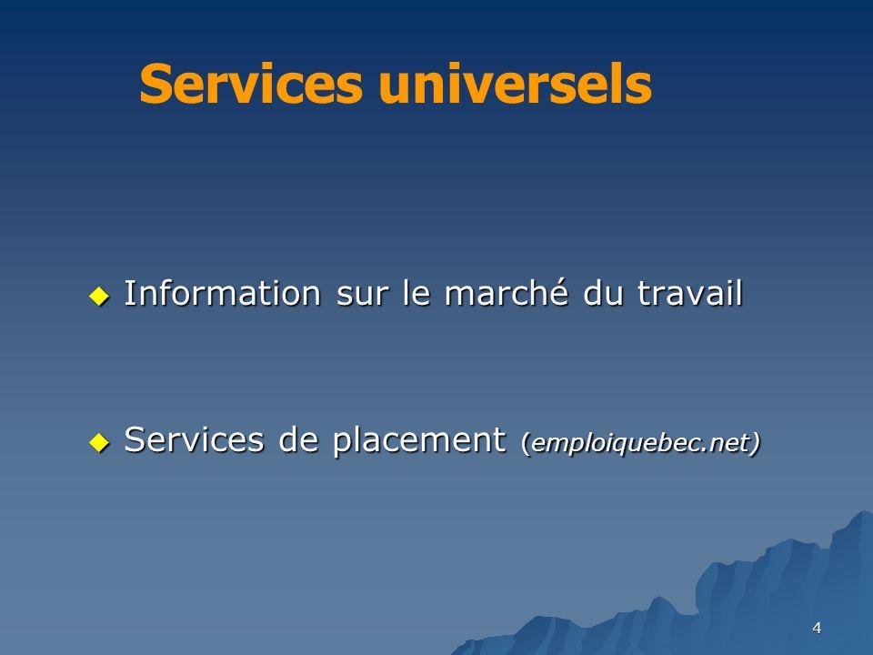 4 Information sur le marché du travail Information sur le marché du travail Services de placement (emploiquebec.net) Services de placement (emploiquebec.net) Services universels