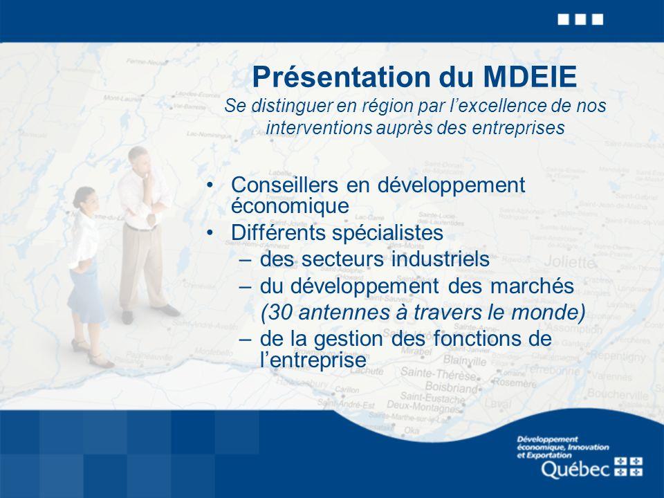 Présentation du MDEIE Se distinguer en région par lexcellence de nos interventions auprès des entreprises Conseillers en développement économique Diff