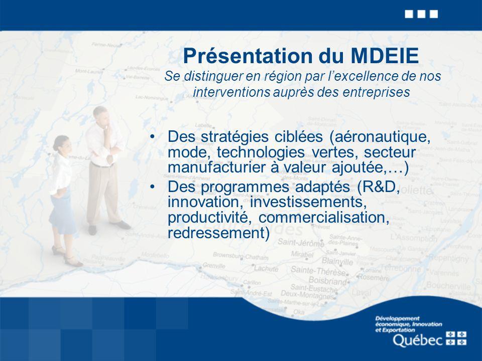 Présentation du MDEIE Se distinguer en région par lexcellence de nos interventions auprès des entreprises Des stratégies ciblées (aéronautique, mode, technologies vertes, secteur manufacturier à valeur ajoutée,…) Des programmes adaptés (R&D, innovation, investissements, productivité, commercialisation, redressement)