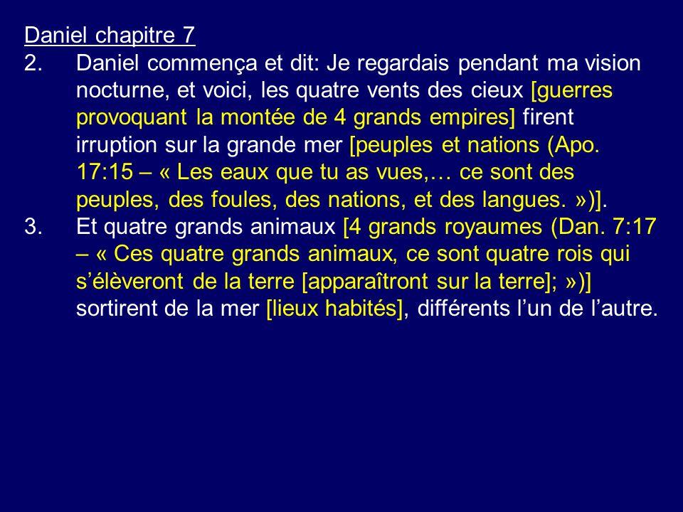 Daniel chapitre 7 2.Daniel commença et dit: Je regardais pendant ma vision nocturne, et voici, les quatre vents des cieux [guerres provoquant la monté