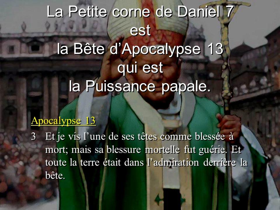 Apocalypse 13 3Et je vis lune de ses têtes comme blessée à mort; mais sa blessure mortelle fut guérie.
