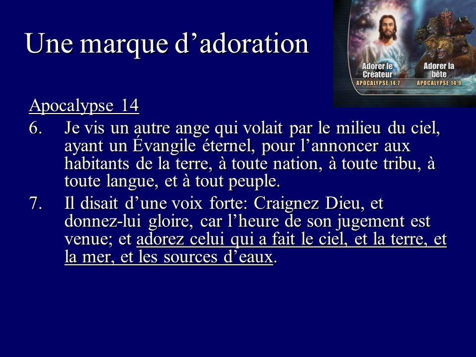 Apocalypse 14 6.Je vis un autre ange qui volait par le milieu du ciel, ayant un Évangile éternel, pour lannoncer aux habitants de la terre, à toute nation, à toute tribu, à toute langue, et à tout peuple.