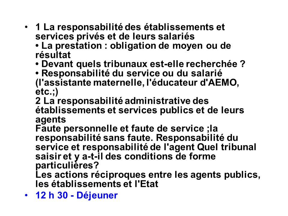 1 La responsabilité des établissements et services privés et de leurs salariés La prestation : obligation de moyen ou de résultat Devant quels tribuna