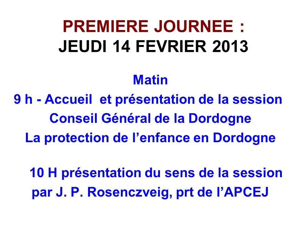 PREMIERE JOURNEE : JEUDI 14 FEVRIER 2013 Matin 9 h - Accueil et présentation de la session Conseil Général de la Dordogne La protection de lenfance en