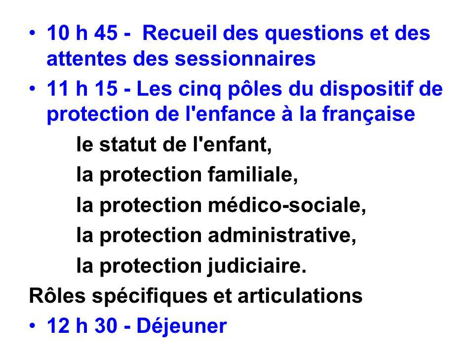 10 h 45 - Recueil des questions et des attentes des sessionnaires 11 h 15 - Les cinq pôles du dispositif de protection de l'enfance à la française le