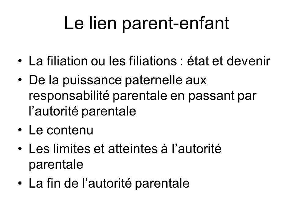 Le lien parent-enfant La filiation ou les filiations : état et devenir De la puissance paternelle aux responsabilité parentale en passant par lautorit