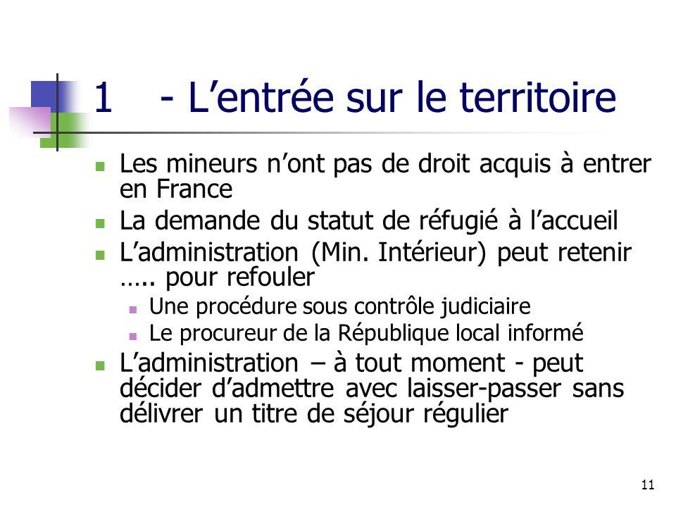 11 1- Lentrée sur le territoire Les mineurs nont pas de droit acquis à entrer en France La demande du statut de réfugié à laccueil Ladministration (Min.