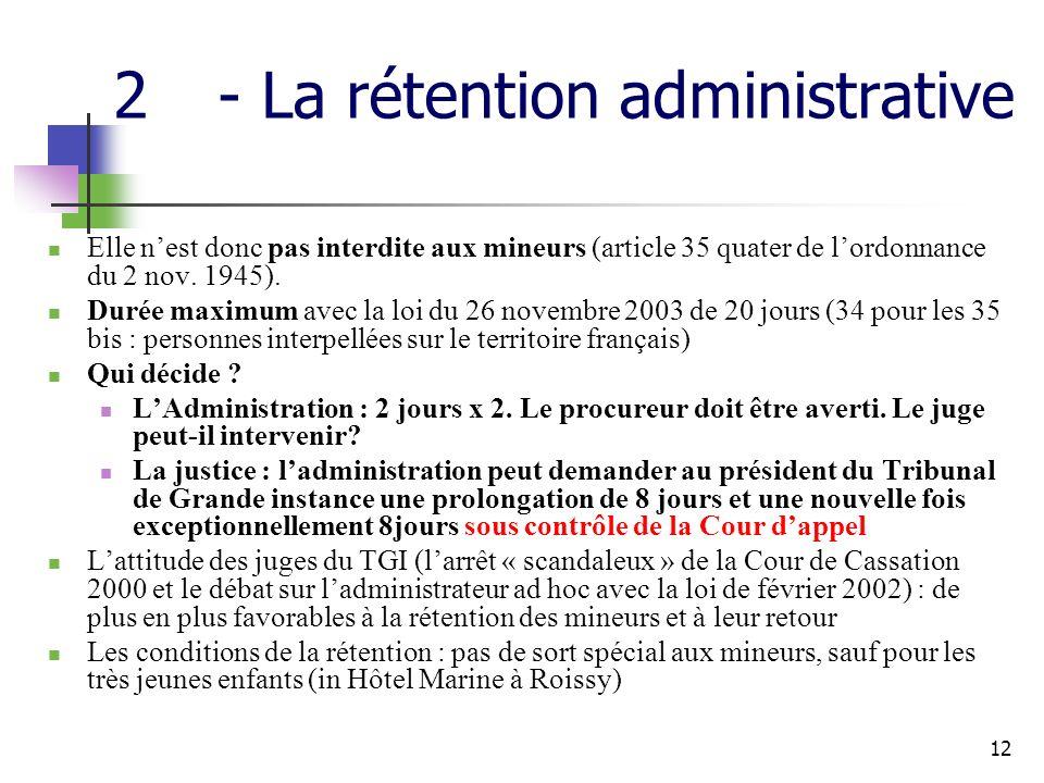 12 2- La rétention administrative Elle nest donc pas interdite aux mineurs (article 35 quater de lordonnance du 2 nov.