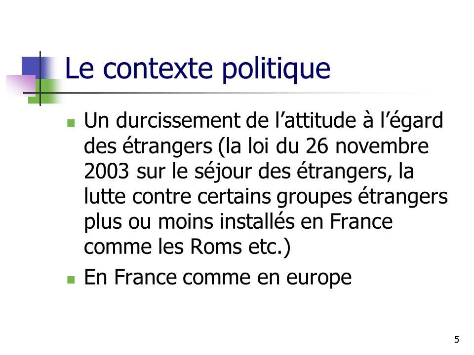 5 Le contexte politique Un durcissement de lattitude à légard des étrangers (la loi du 26 novembre 2003 sur le séjour des étrangers, la lutte contre certains groupes étrangers plus ou moins installés en France comme les Roms etc.) En France comme en europe