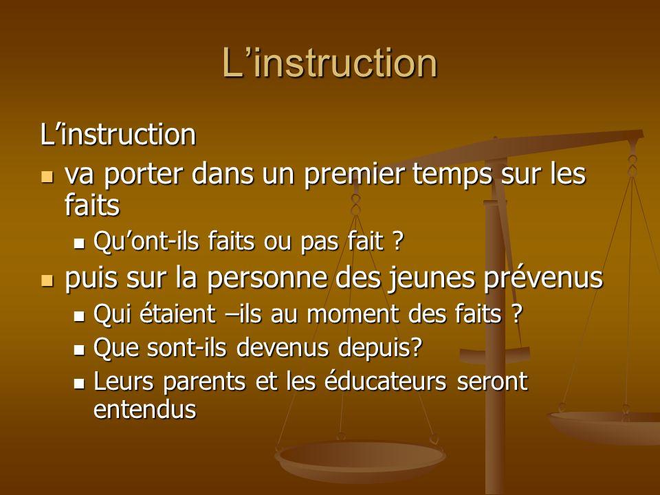 Linstruction Linstruction va porter dans un premier temps sur les faits va porter dans un premier temps sur les faits Quont-ils faits ou pas fait ? Qu