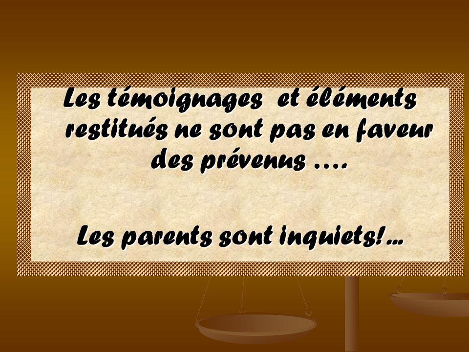 Les témoignages et éléments restitués ne sont pas en faveur des prévenus …. Les parents sont inquiets!...