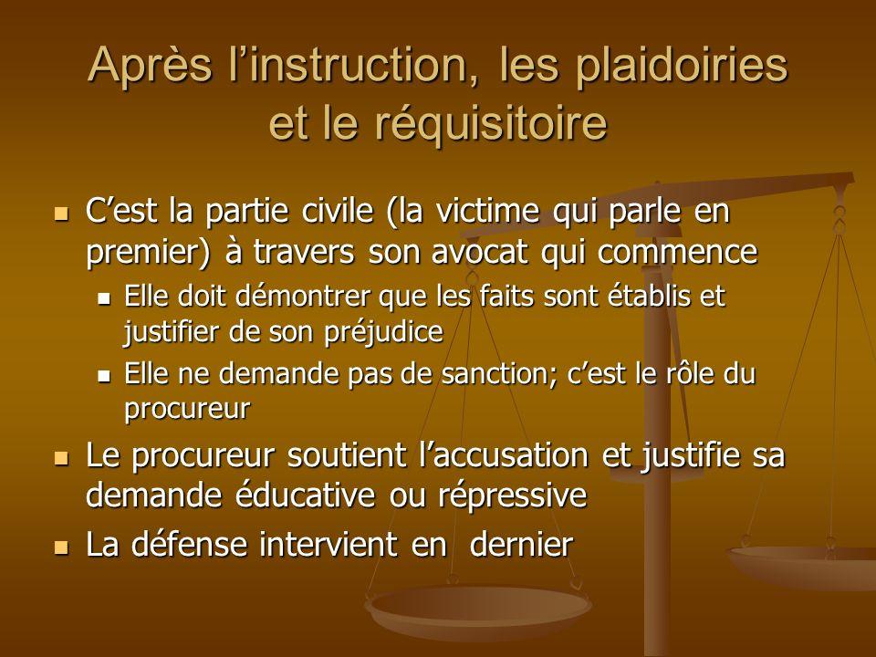 Après linstruction, les plaidoiries et le réquisitoire Cest la partie civile (la victime qui parle en premier) à travers son avocat qui commence Cest