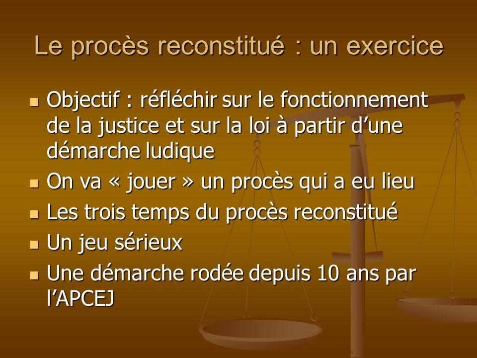 Le procès reconstitué : un exercice Objectif : réfléchir sur le fonctionnement de la justice et sur la loi à partir dune démarche ludique Objectif : r