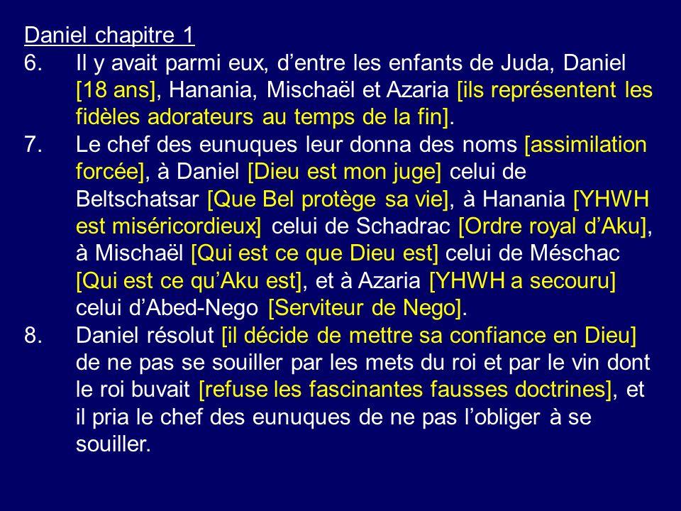 Daniel chapitre 1 6.Il y avait parmi eux, dentre les enfants de Juda, Daniel [18 ans], Hanania, Mischaël et Azaria [ils représentent les fidèles adora