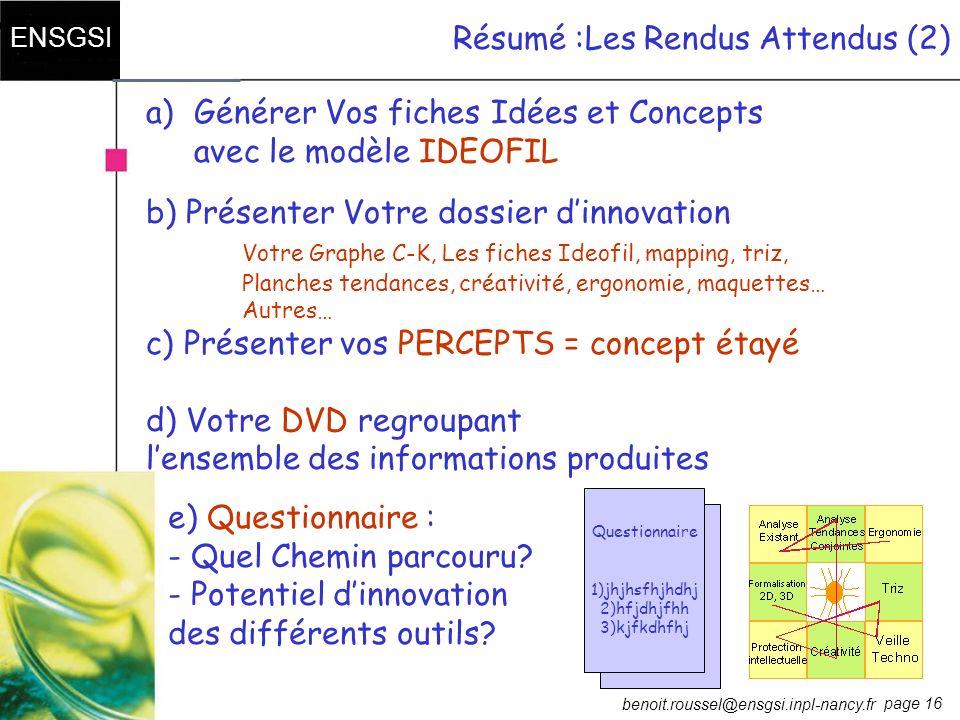 page 16 ENSGSI benoit.roussel@ensgsi.inpl-nancy.fr Résumé :Les Rendus Attendus (2) e) Questionnaire : - Quel Chemin parcouru? - Potentiel dinnovation