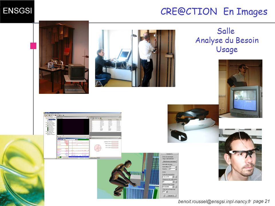 page 21 ENSGSI benoit.roussel@ensgsi.inpl-nancy.fr CRE@CTIONEn Images Salle Analyse du Besoin Usage