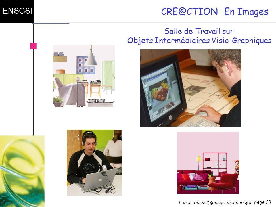 page 23 ENSGSI benoit.roussel@ensgsi.inpl-nancy.fr CRE@CTIONEn Images Salle de Travail sur Objets Intermédiaires Visio-Graphiques