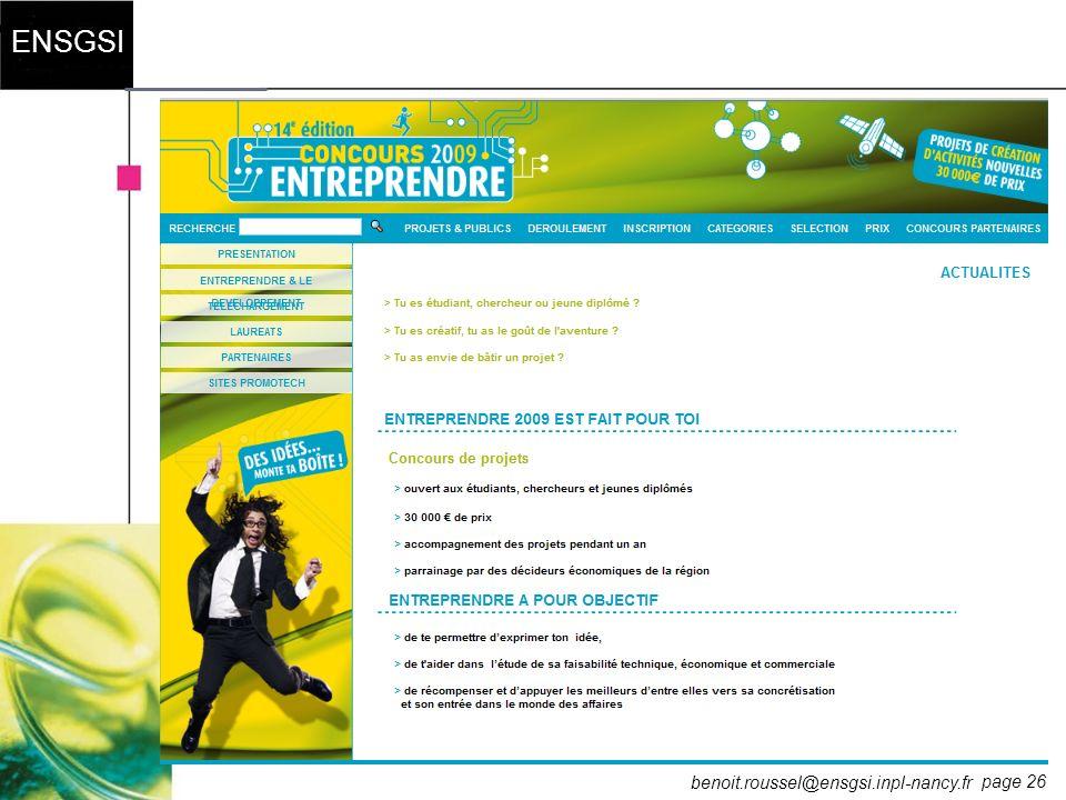page 26 ENSGSI benoit.roussel@ensgsi.inpl-nancy.fr