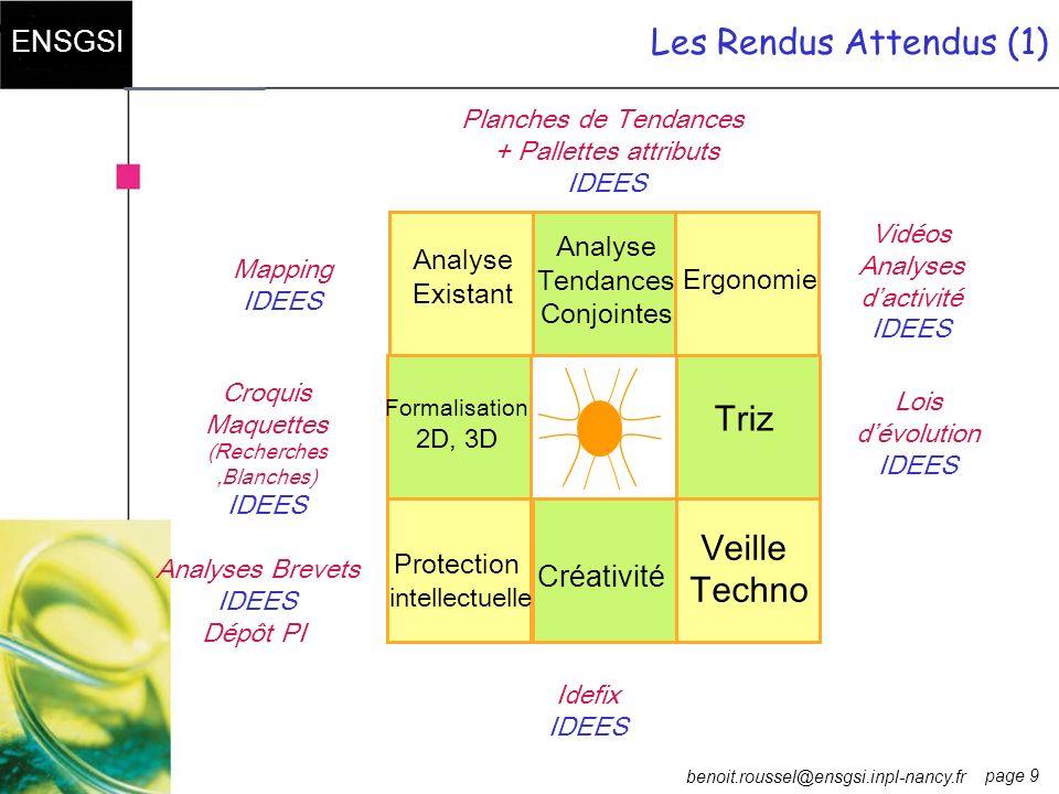 page 9 ENSGSI benoit.roussel@ensgsi.inpl-nancy.fr Les Rendus Attendus (1) Lois dévolution IDEES Idefix IDEES Planches de Tendances + Pallettes attribu