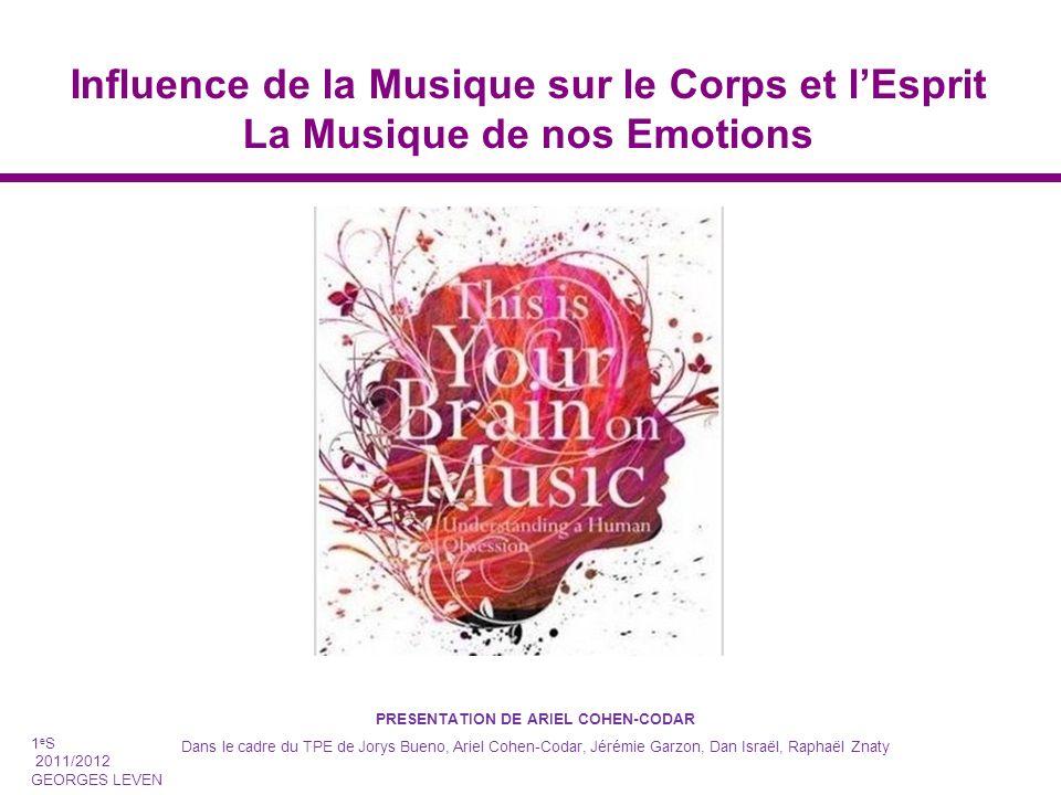 Influence de la Musique sur le Corps et lEsprit La Musique de nos Emotions PRESENTATION DE ARIEL COHEN-CODAR Dans le cadre du TPE de Jorys Bueno, Arie
