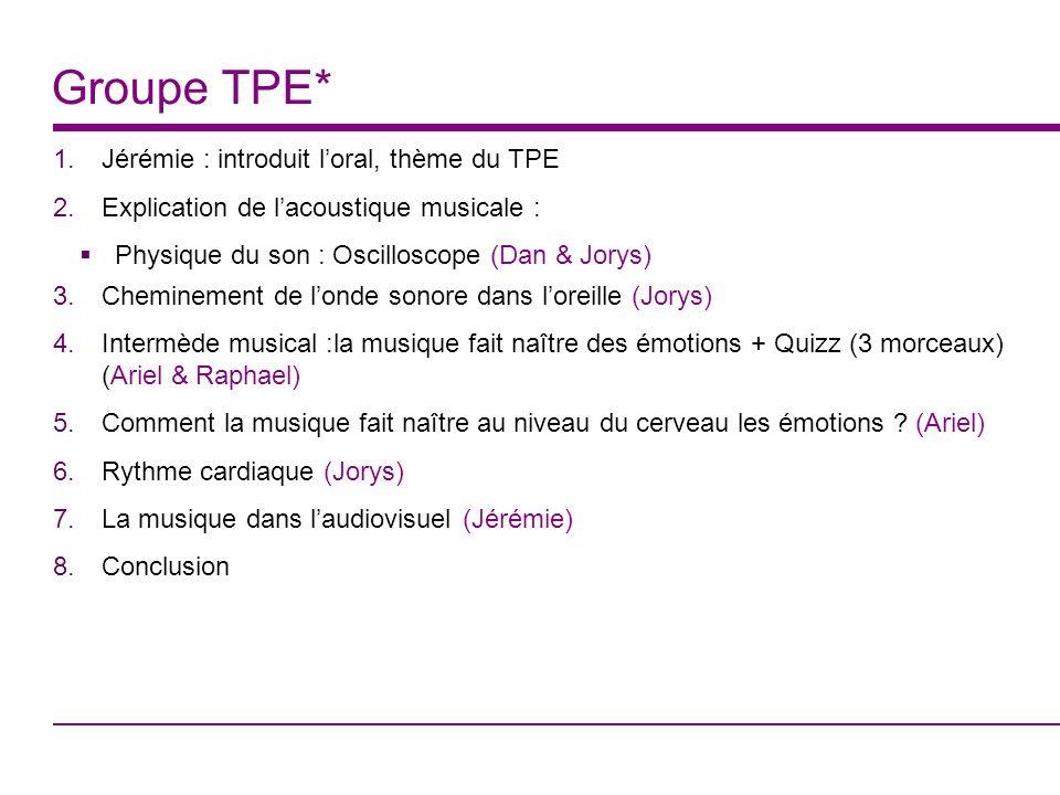 Groupe TPE* 1.Jérémie : introduit loral, thème du TPE 2.Explication de lacoustique musicale : Physique du son : Oscilloscope (Dan & Jorys) 3.Chemineme