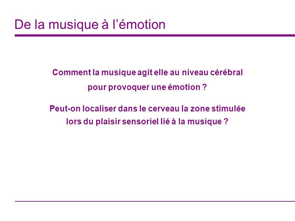 De la musique à lémotion Comment la musique agit elle au niveau cérébral pour provoquer une émotion ? Peut-on localiser dans le cerveau la zone stimul