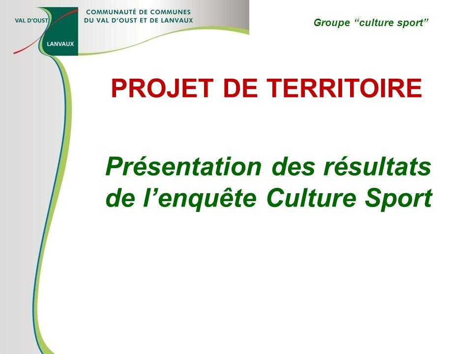 Présentation des résultats de lenquête Culture Sport PROJET DE TERRITOIRE Groupe culture sport