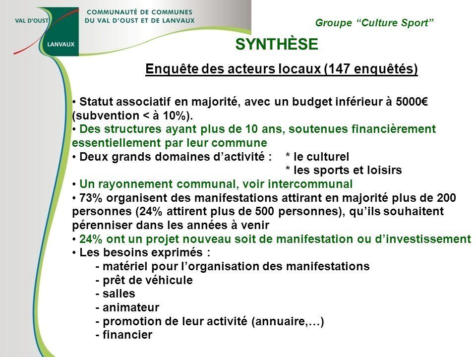 Groupe Culture Sport SYNTHÈSE Enquête des acteurs locaux (147 enquêtés) Statut associatif en majorité, avec un budget inférieur à 5000 (subvention < à