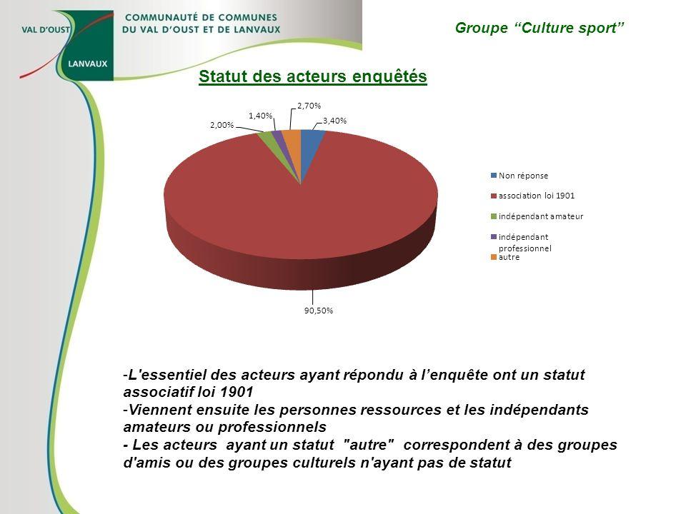 Groupe Culture sport -L'essentiel des acteurs ayant répondu à lenquête ont un statut associatif loi 1901 -Viennent ensuite les personnes ressources et