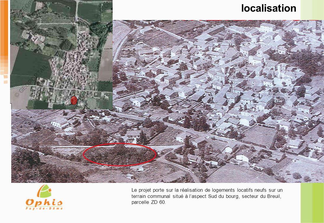 localisation Le projet porte sur la réalisation de logements locatifs neufs sur un terrain communal situé à laspect Sud du bourg, secteur du Breuil, p