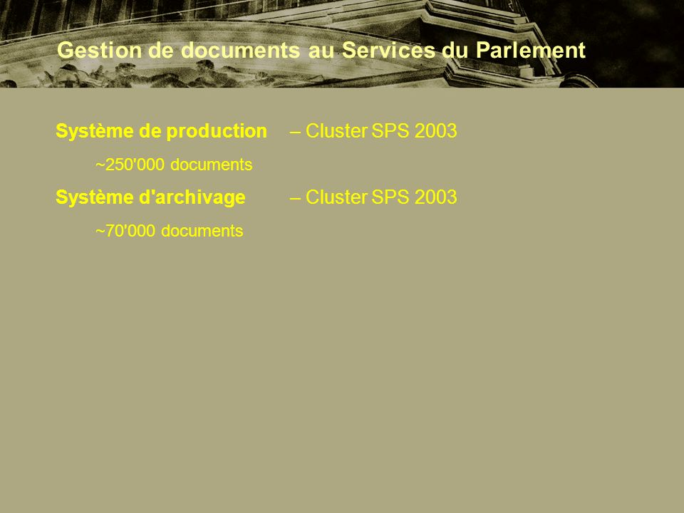 Système de production – Cluster SPS 2003 ~250 000 documents Système d archivage – Cluster SPS 2003 ~70 000 documents Gestion de documents au Services du Parlement