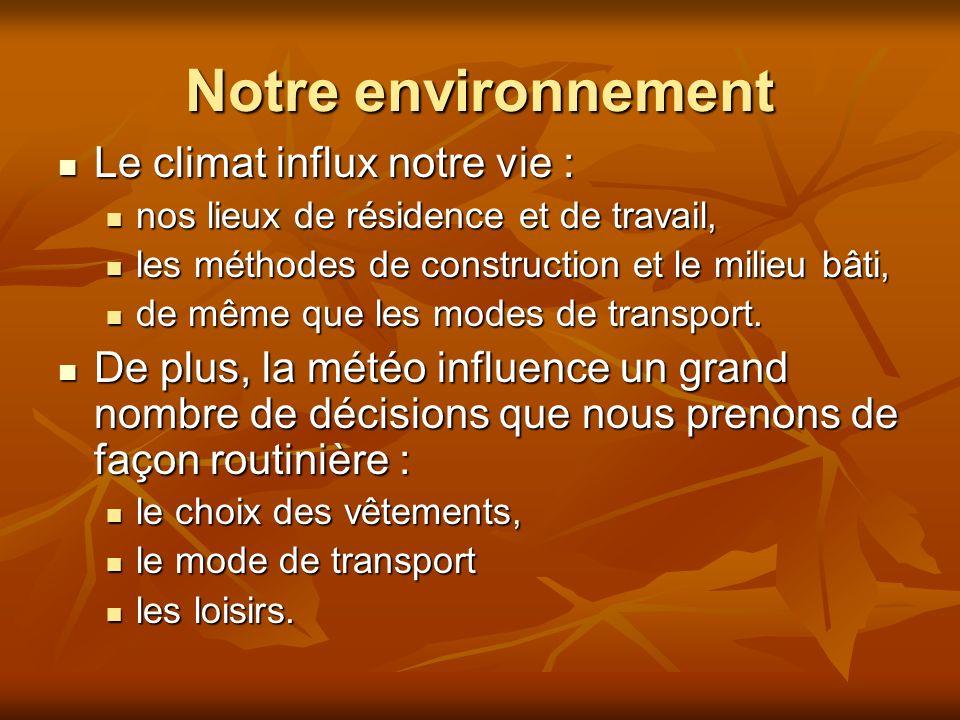 Notre environnement Le climat influx notre vie : Le climat influx notre vie : nos lieux de résidence et de travail, nos lieux de résidence et de travail, les méthodes de construction et le milieu bâti, les méthodes de construction et le milieu bâti, de même que les modes de transport.
