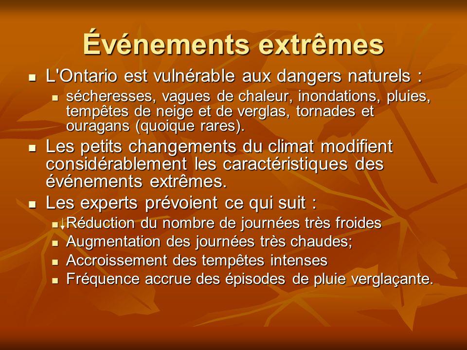 Événements extrêmes L Ontario est vulnérable aux dangers naturels : L Ontario est vulnérable aux dangers naturels : sécheresses, vagues de chaleur, inondations, pluies, tempêtes de neige et de verglas, tornades et ouragans (quoique rares).