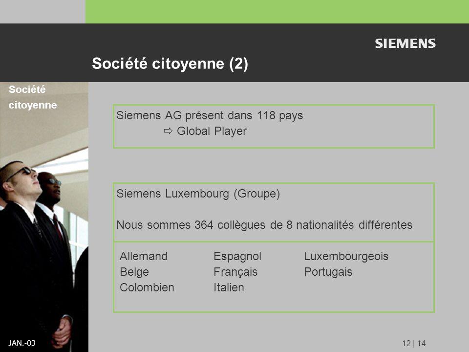 s JAN.-03 12 | 14 Siemens AG présent dans 118 pays Global Player Siemens Luxembourg (Groupe) Nous sommes 364 collègues de 8 nationalités différentes Allemand Espagnol Luxembourgeois Belge Français Portugais Colombien Italien Société citoyenne Société citoyenne (2)