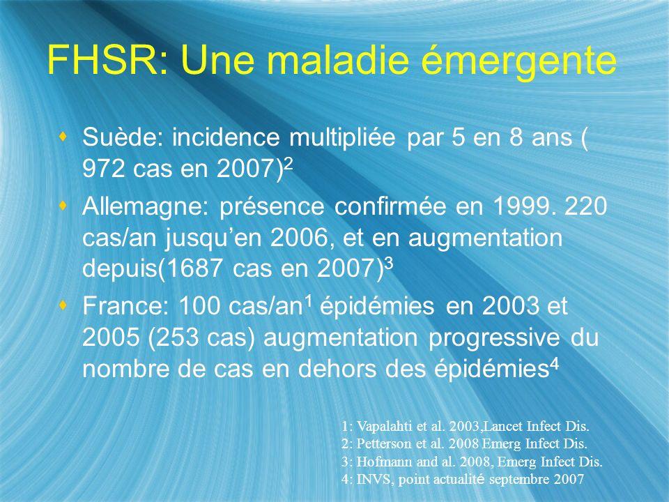 FHSR: Une maladie émergente Suède: incidence multipliée par 5 en 8 ans ( 972 cas en 2007) 2 Allemagne: présence confirmée en 1999. 220 cas/an jusquen