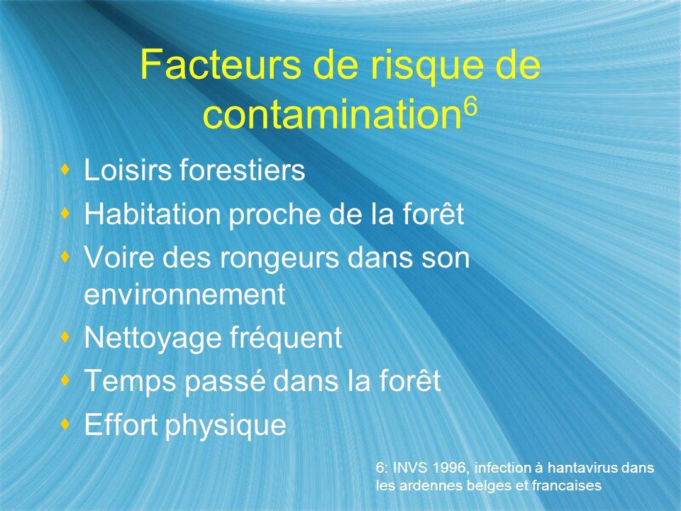 Facteurs de risque de contamination 6 Loisirs forestiers Habitation proche de la forêt Voire des rongeurs dans son environnement Nettoyage fréquent Te