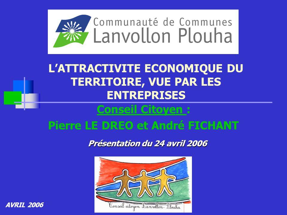 LATTRACTIVITE ECONOMIQUE DU TERRITOIRE, VUE PAR LES ENTREPRISES Conseil Citoyen : Pierre LE DREO et André FICHANT AVRIL 2006 Présentation du 24 avril