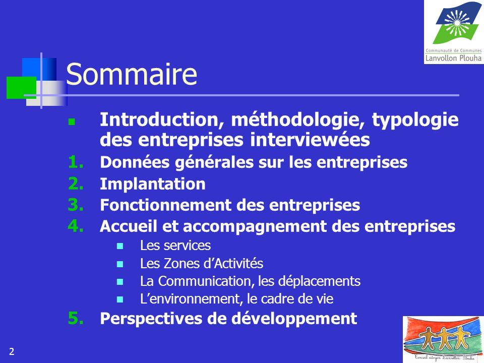 2 Sommaire Introduction, méthodologie, typologie des entreprises interviewées 1. Données générales sur les entreprises 2. Implantation 3. Fonctionneme