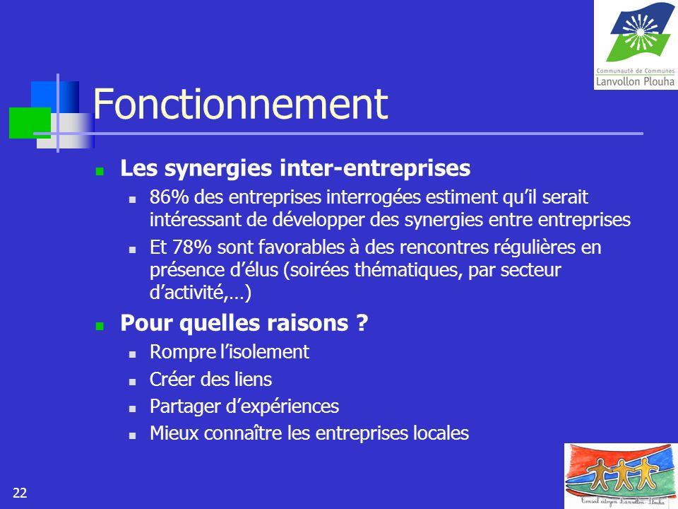 22 Fonctionnement Les synergies inter-entreprises 86% des entreprises interrogées estiment quil serait intéressant de développer des synergies entre e