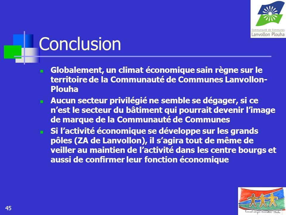 45 Conclusion Globalement, un climat économique sain règne sur le territoire de la Communauté de Communes Lanvollon- Plouha Aucun secteur privilégié n