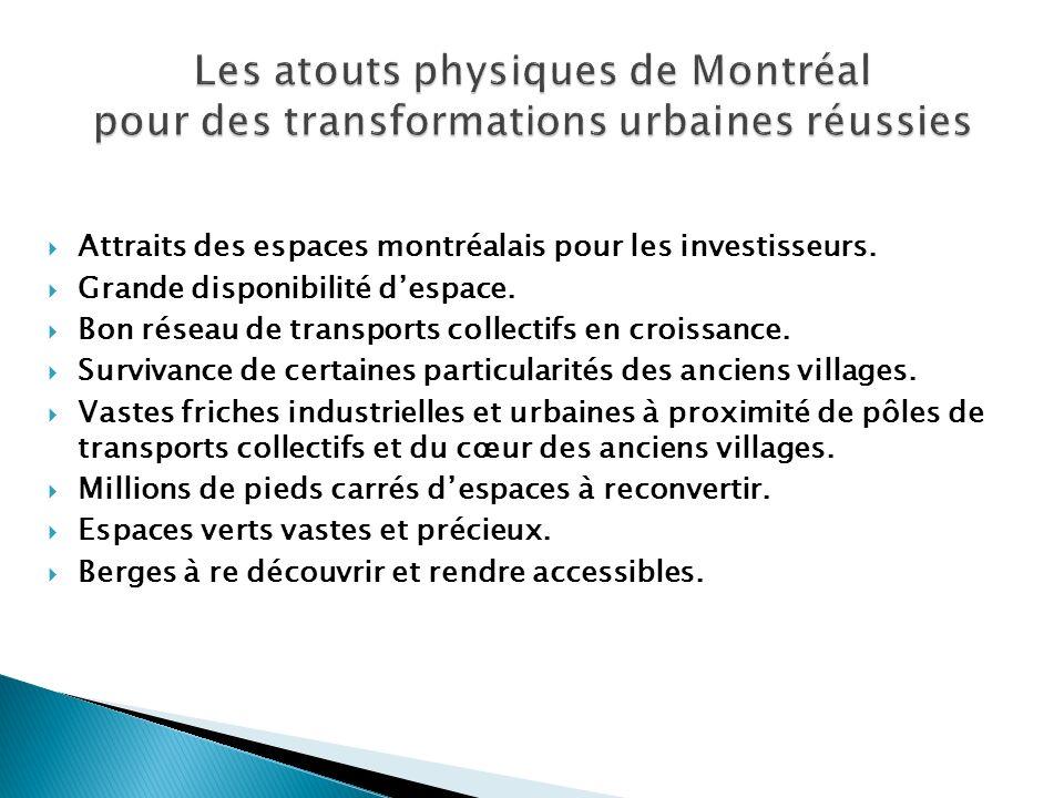 Attraits des espaces montréalais pour les investisseurs. Grande disponibilité despace. Bon réseau de transports collectifs en croissance. Survivance d