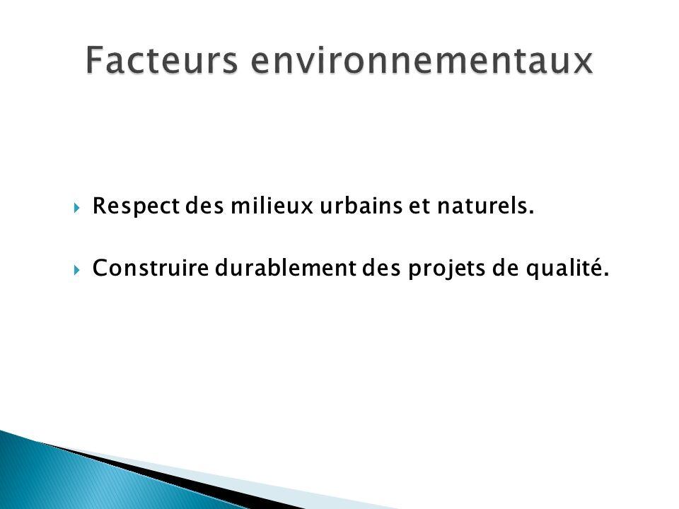 Respect des milieux urbains et naturels. Construire durablement des projets de qualité.