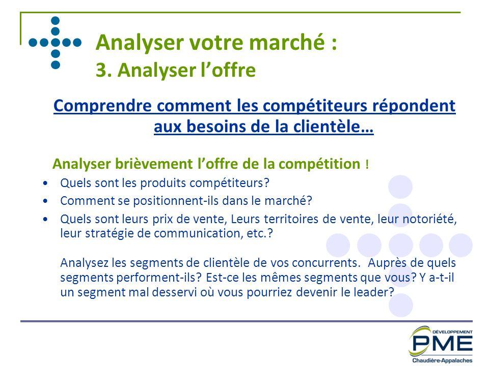 Analyser votre marché : 3. Analyser loffre Comprendre comment les compétiteurs répondent aux besoins de la clientèle… Analyser brièvement loffre de la
