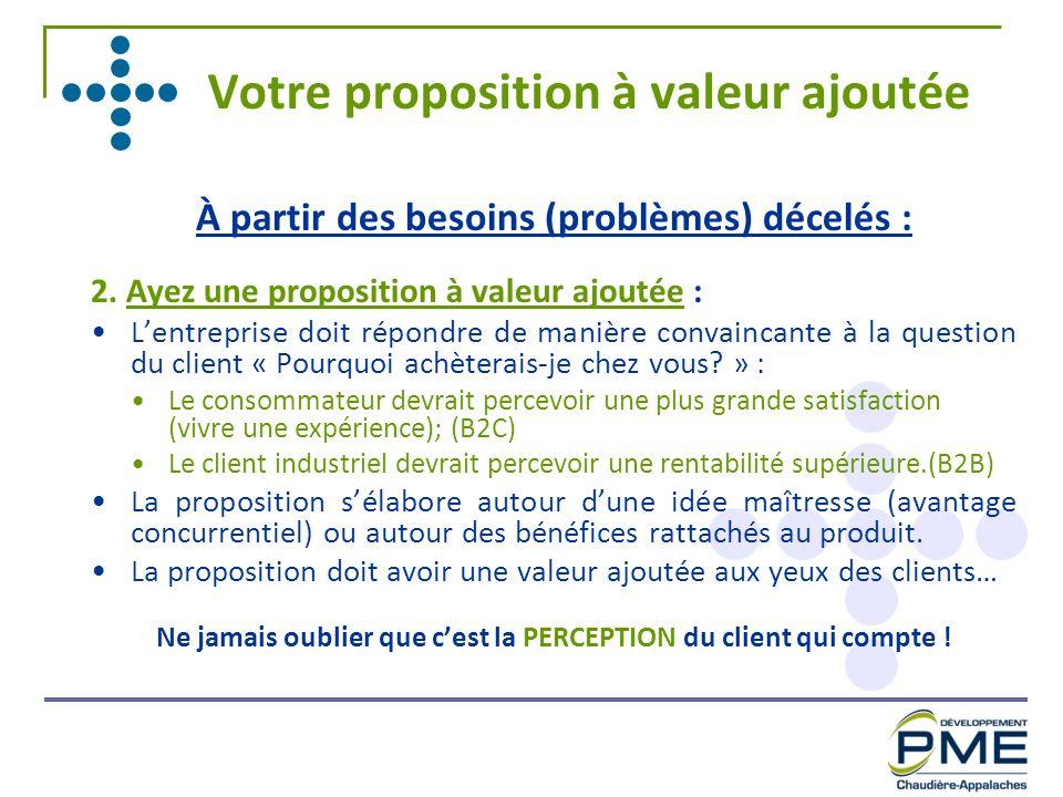Votre proposition à valeur ajoutée À partir des besoins (problèmes) décelés : 2. Ayez une proposition à valeur ajoutée : Lentreprise doit répondre de