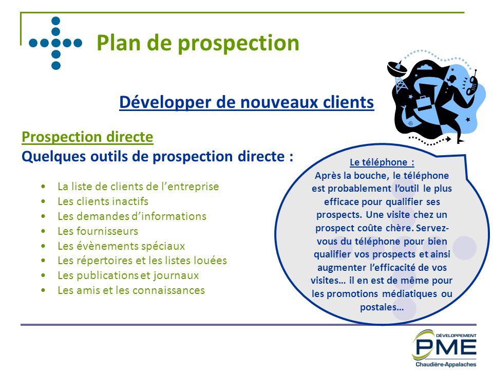 Plan de prospection Développer de nouveaux clients Prospection directe Quelques outils de prospection directe : La liste de clients de lentreprise Les