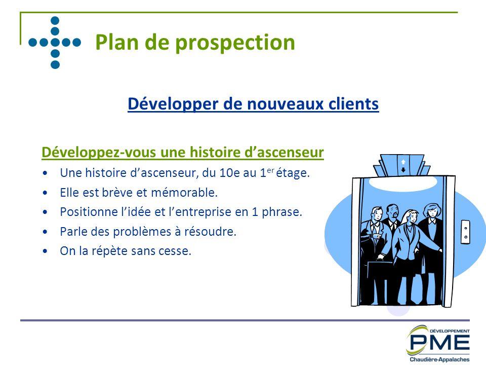 Plan de prospection Développer de nouveaux clients Développez-vous une histoire dascenseur Une histoire dascenseur, du 10e au 1 er étage. Elle est brè