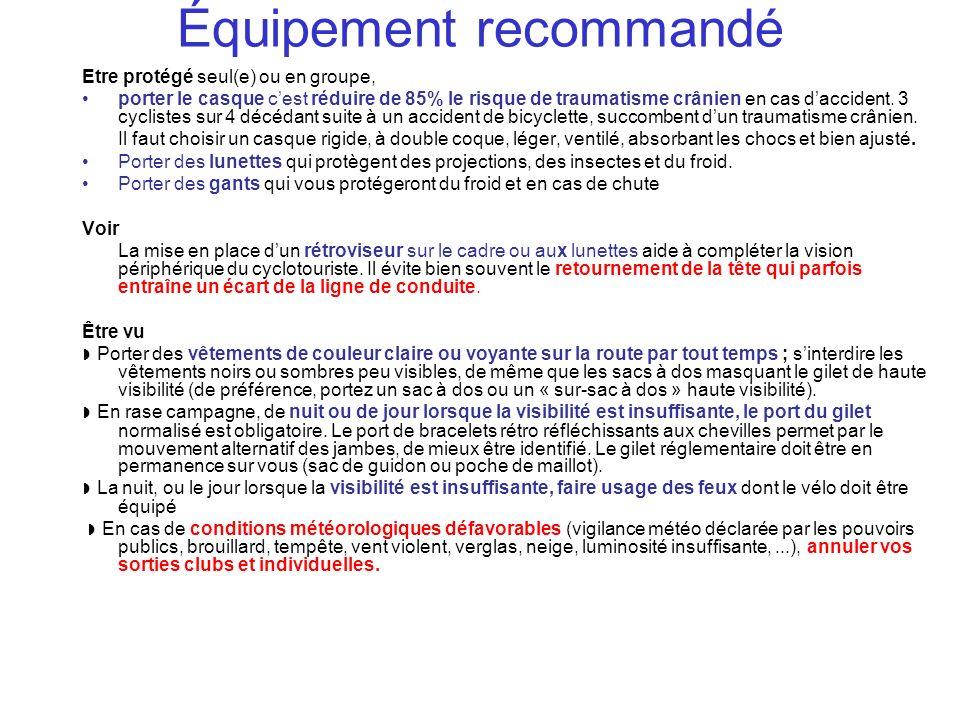 Équipement recommandé Etre protégé seul(e) ou en groupe, porter le casque cest réduire de 85% le risque de traumatisme crânien en cas daccident. 3 cyc