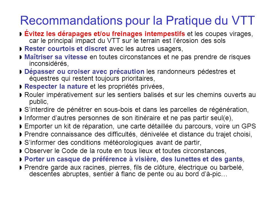 Recommandations pour la Pratique du VTT Évitez les dérapages et/ou freinages intempestifs et les coupes virages, car le principal impact du VTT sur le